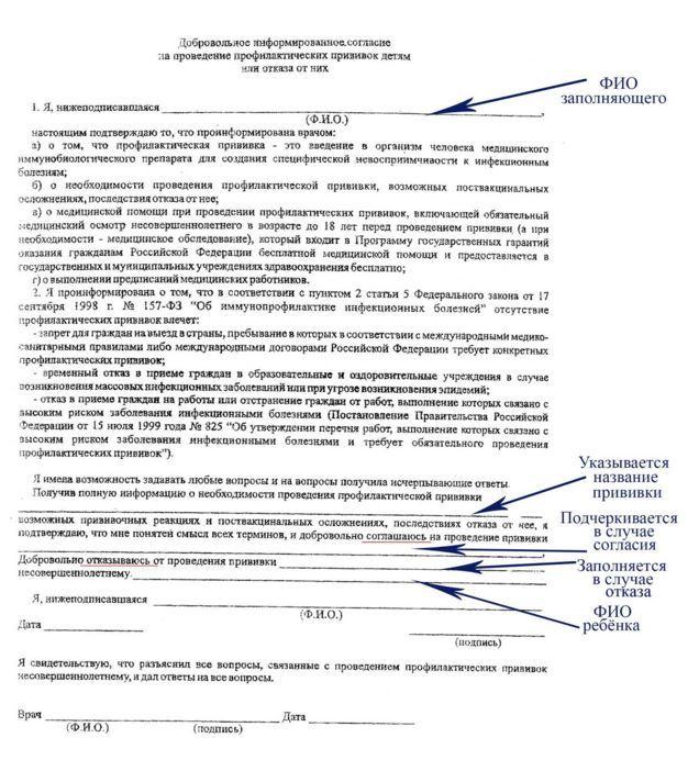Согласие на прививку манту образец заполнения-1